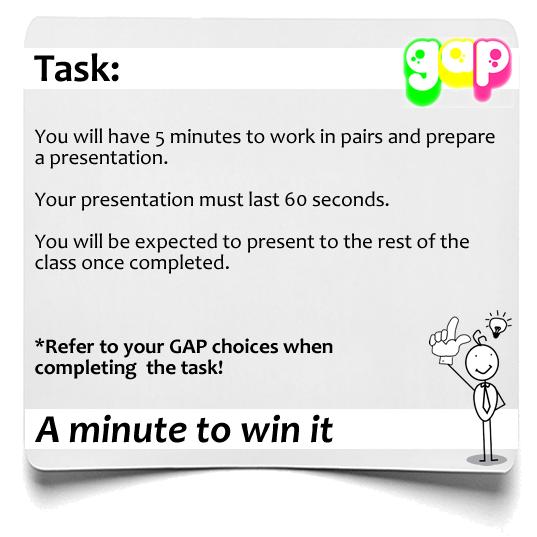 Minute to win it  GAP