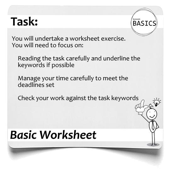 Lesson Basics Worksheet